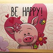 """""""Счастливый поросенок"""" - муз-открытка с вашей мелодией"""