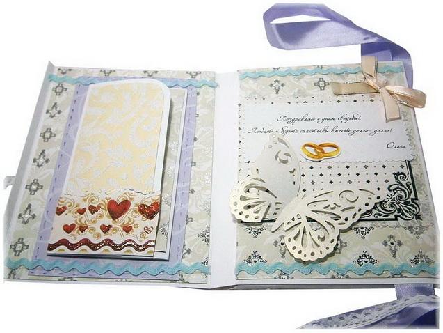 Эксклюзивная свадебная открытка c деньгами